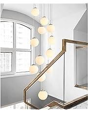 Lampa wisząca LED, na klatkę schodową, długa, 12 żarówek, ze szkła, kula, lampa wisząca do jadalni, G9, biała, lampa wisząca, regulowana wysokość, nowoczesny żyrandol, do salonu, willi, kuchni, korytarza