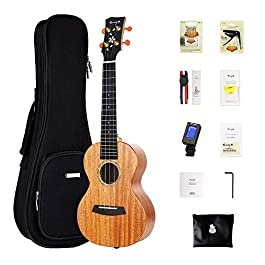 Concert Ukulele Enya 23″ all Solid Mahogany – with Cherry Blossom Pattern Ukelele Starter Kit With Case, Tuner, Strap, Strings, Capo, Sand Shaker, Picks, Polish Cloth (EUC-MS)