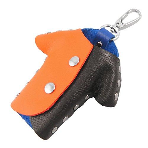 Orange Schwarz Blau-Leder-Hemd-Art Schlüssel Schlüsselbund Tasche