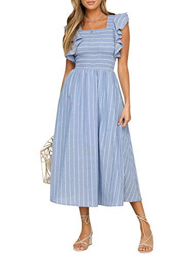 BerryGo Women's Vintage Sleeveless Striped Ruffle Cotton Midi Dress with Pocket Blue-M