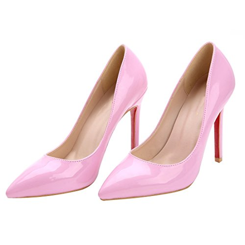 HooH Damen Lackleder Simple Ballsaal Pumps Rosa
