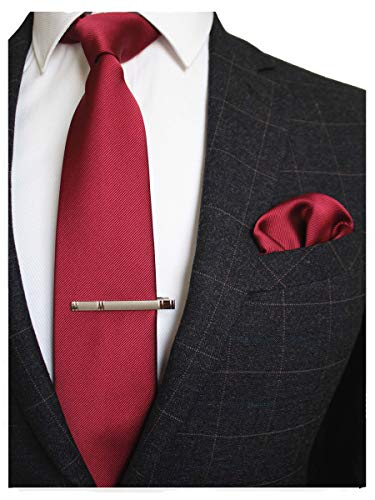 - JEMYGINS Burgundy Formal Necktie and Pocket Square, Hankerchief and Tie Bar Clip Sets for Men