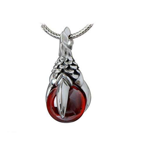 Jade Angel Vintage Thailand Sterling Silver Dragon Claw Red Cubic Zirconia Pendant Necklace for Men for Women (20 Inches)