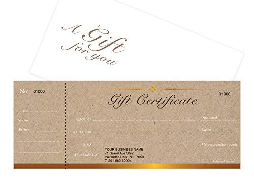 (Custom Gift Certificates Cards with Envelopes 100 set - Kraft Image- Gift Coupons,Vouchers for Small Business,Spa,Makeup,Hair Beauty Salon,Restaurant)