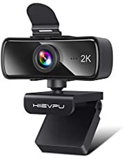 2K Webcam with Microphone for PC & Laptop, Hiievpu USB Webcam with Privacy Cover, Plug and Play, Suitable for Streaming/Gaming/Video Conferencing & Zoom/YouTube/Cisco WebEx/Google Meet