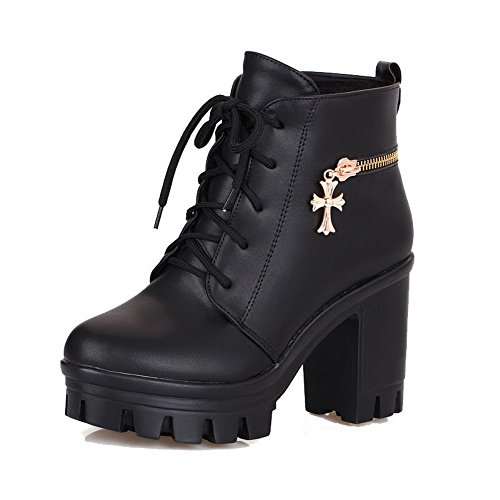 AllhqFashion Womens Lace-Up High-Heels PU Solid Low-Top Boots Black