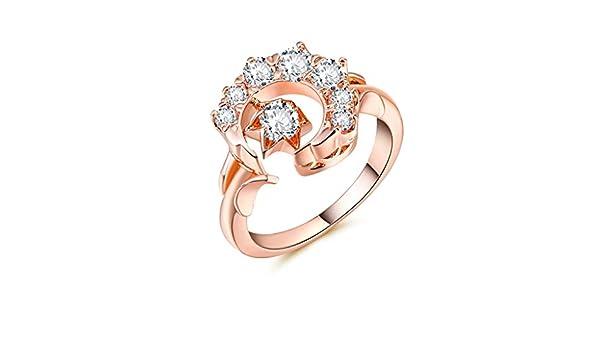 BNisBM Ring Crescent Shape Rhinestone Moon Star Artificial Diamond Inlay Engagement Ring Jewelry for Women