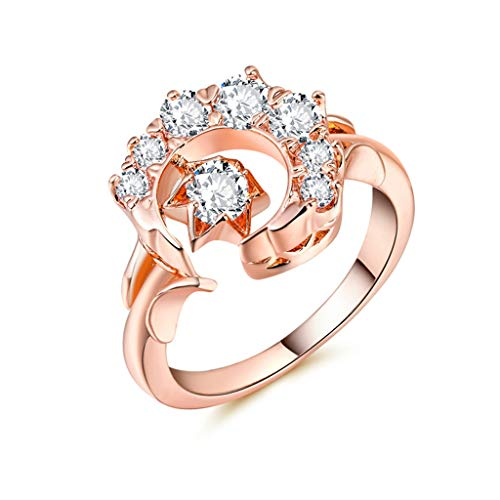 Rose Gold Moon Star Ring,Luxury And Noble Diamond Engagement Ring Rose Gold Zircon Ring Wedding Ring For Women Fashion Jewelry(Rose -