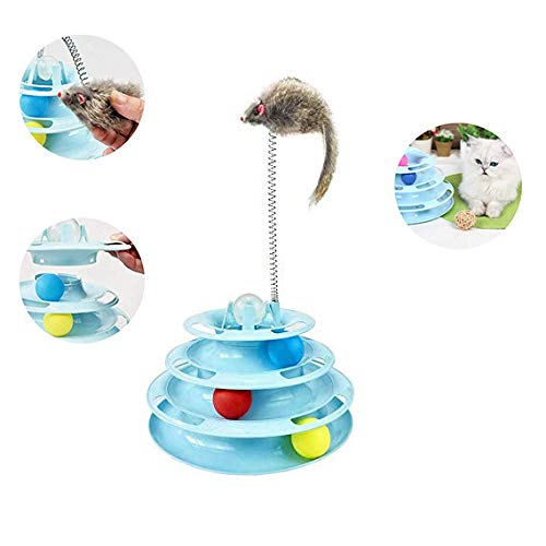 WTTTTW Cat Toy Roller, Cat Toys 3/4 Level Towers Tracks Roller with Colorful Ball, Interactive Fun Mental Physical Exercise Puzzle Toys,Blue,Threefloors