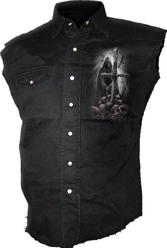 (Spiral - Mens - Soul Searcher - Sleeveless Stone Washed Worker Black - XL)