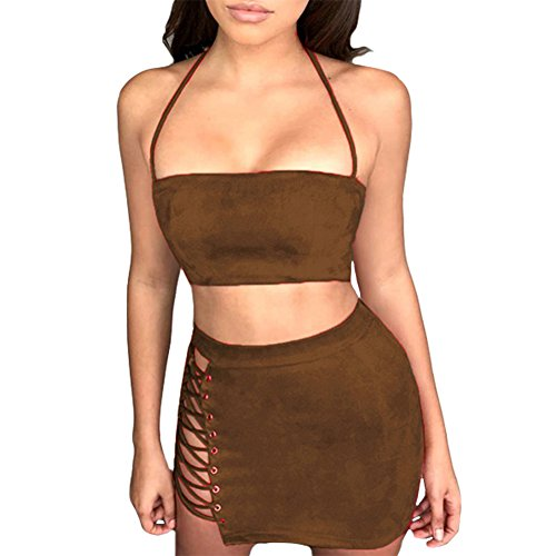- Antopmen Women Sexy Spaghetti Strap Crop Top Side Lace Up Skirt Outfit Two Piece Bodycon Bandage Dress (Medium, Brown)