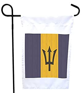 Rikki Knight Barbados Flag on Distressed Wood House or Garden Flag with 11 x 11-Inch Image, 12 x 18-Inch