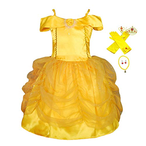Lito Angels Girls' Princess Belle Dress Up Costume Halloween Party Fancy Dresses with Accessories Size 3-4T