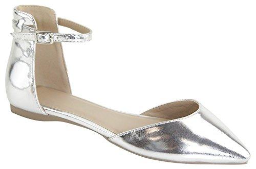 Pointy Women's Flats Toe MVE Silverw9 Classic Shoes Znaxza