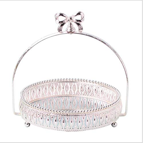 Dia Round Mirror Tray - Tray Mirrored Dia 27cm Round Silver Metal Cake Stand Silver Cake Tray Glass Mirror Decorative