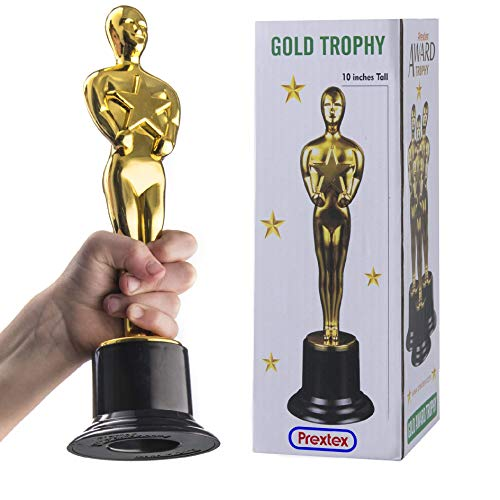 Prextex 10-Inch Gold Award Trophy for Trophy Awards and Party Celebrations, Award Ceremony, and Appreciation Gift, (Best Director Winner For Reds)
