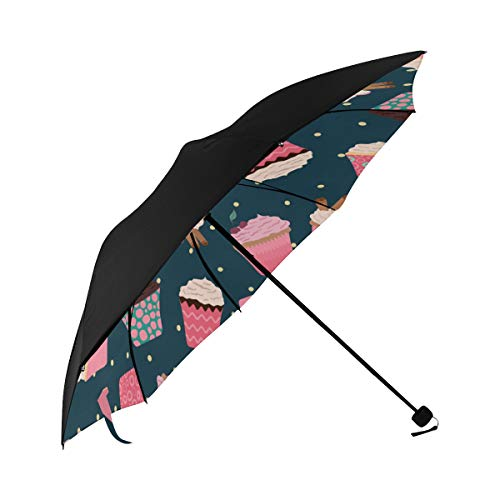 Cup Cake Dessert Snack Color Compact Travel Umbrella Sun Parasol Anti Uv Foldable Umbrellas(underside Printing) As Best Present For Women Sun Uv Protection