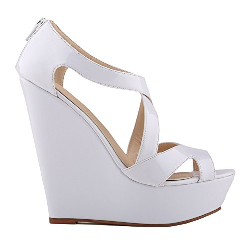 Loslandifen Womens Patent Leather Platform High Heels Sandals Peep Toe Wedges Wedding (Patent Leather Peep Toe Sandals)