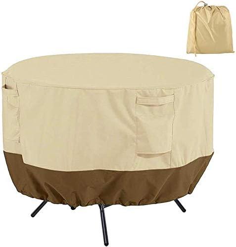 家具カバー ファニチャー 2-4座席表のためのラウンドパティオテーブルカバー防水透湿性420Dオックスフォード生地ガーデン家具カバー(91 * 58センチメートル、ベージュ+コーヒー) ガーデン 庭用保護カバー シャンボ14011 (Color : Beige+Coffee, Size : 91*58cm)