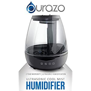 Purazo Ultrasonic Cool Mist Humidifier 3.5L Capacity Adjustable Mist, Whisper-quiet operation, Automatic Shut-off, 7 Color LED Night Light, Aromatherapy for Home Office Bedroom Living Room (Black)