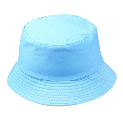 Toponly Unisex Fisherman Hat Outdoors Cotton Packable Fishing Hunting Summer Outdoors Wild Sun Protection Travel Bucket Cap Sky Blue