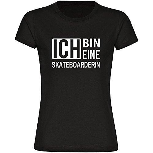 T-Shirt ich bin eine Skateboarderin schwarz Damen Gr. S bis 2XL