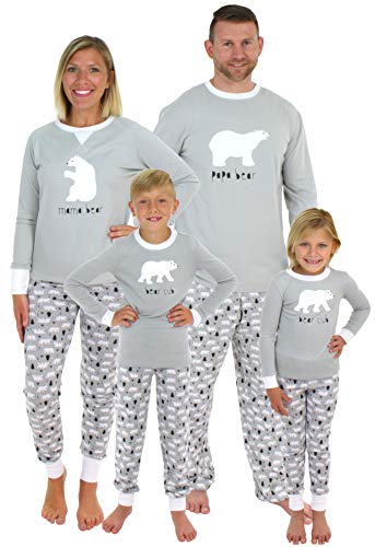 Sleepyheads Holiday Family Matching Polar Bear Pajama PJ Sets - Kids - Grey Top (SHM-4038-K-5) -