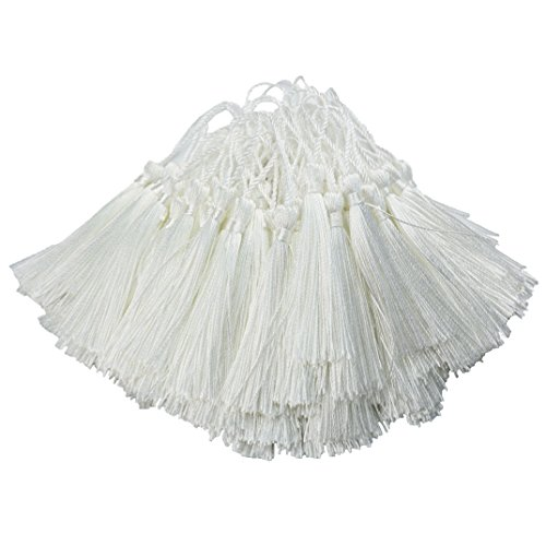 100pcs 13cm/5 Inch Silky Floss bookmark Tassels with 2-Inch Cord Loop and Small Chinese Knot for Jewelry Making, Souvenir, Bookmarks, DIY Craft Accessory (White) by Makhry