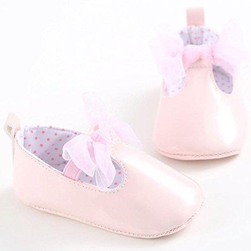 Tefamore zapatos primeros pasos bebes de antideslizante de sole suave de moda invierno de calentar de Cartoon Nudo de arco Rosa