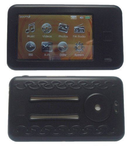 Black Soft Silicone Skin Case For Creative Lab Zen X-fi 2 2nd Generation Series ,8GB / 16GB /32GB + Screen Protector +Black Belt Clip + Adjustable Armband + Lanyard
