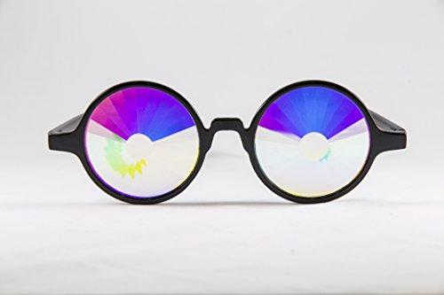 Festival Junkie Black PLUR-Vision Rainbow Portal Kaleidoscope Glasses (Costume Store Orlando)