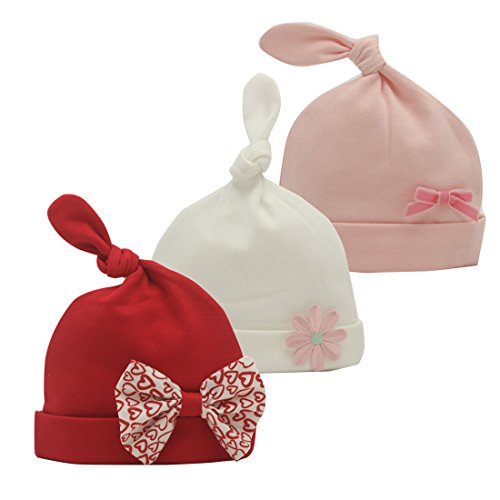 Nihao Baby Newborn Hospital Hat with Bow Infant Toddler Girl Top Knot Beanie Hat 3 Pack (Red Pink White, 6-12 Months)