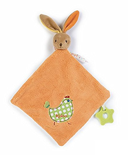 Amazon.com: Kaloo Colors Large Rabbit Doudou with Chick Applique and Teething Ring: Toys & Games