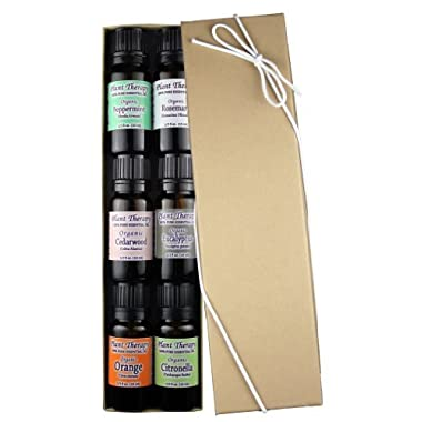 Organic Essential Oil Sampler Gift Set. 6 Organic Oils- Includes 100% Pure, Undiluted, Therapeutic Grade Essential Oils of Eucalyptus, Peppermint, Rosemary, Cedarwood, Sweet Orange and Citronella.