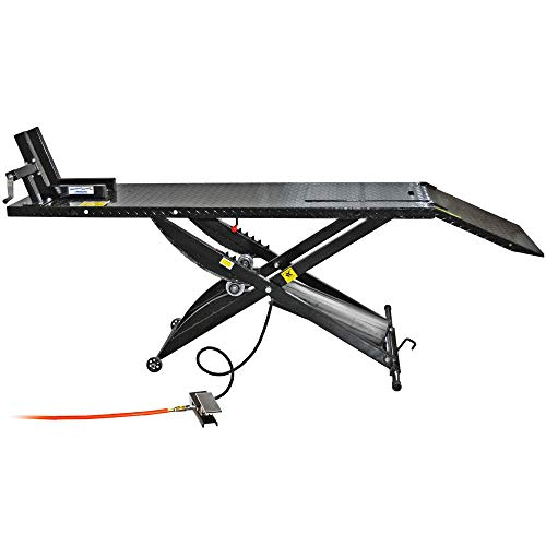 Air Motorcycle Lift - Rage Powersports Air Operated Motorcycle Lift Table with Wheel Chock & Drop Panel