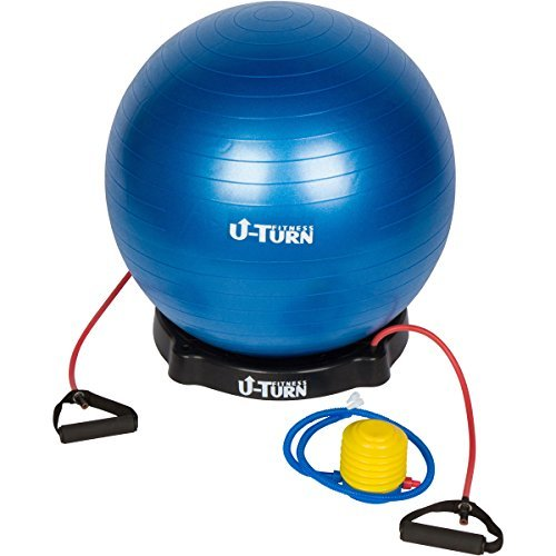 Anti-Burst Exercise Ball & Resistance Bands with Pump