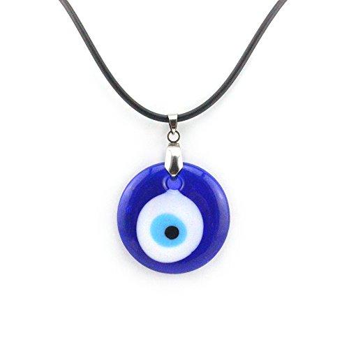 Luckymojo Turkish Evil Eye(Nazar) Pendant Blue Color Glass PVC String Necklace