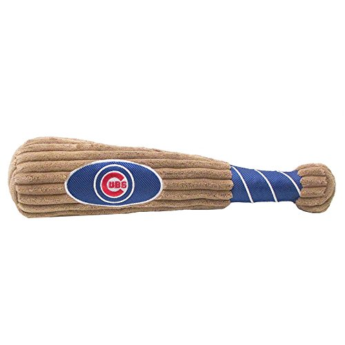 MLB CHICAGO CUBS Baseball Bat Toy for DOGS & CATS. Soft Corduroy Plush with Inner SQUEAKER