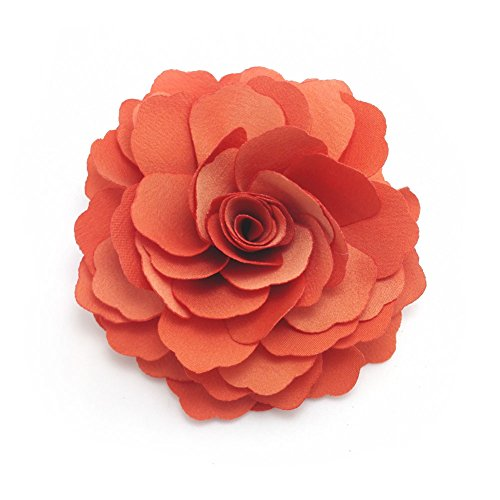Meilliwish Camellias Flower Hair Clip and Brooch Pin (A74)(Orange) ()