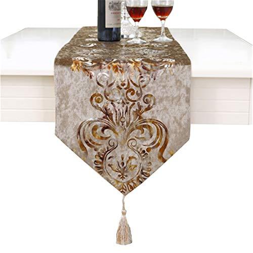 Modern gold tulip hemstitch tapestry table runner 80 inch approx velvet -