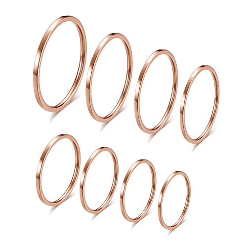 IFUAQZ 8pcs 1MM Thin Stainless Steel Knuckle Midi Stacking Rings for Women Girls Plain Band Comfort Fit Rose Gold, Size 3 to 10 by IFUAQZ