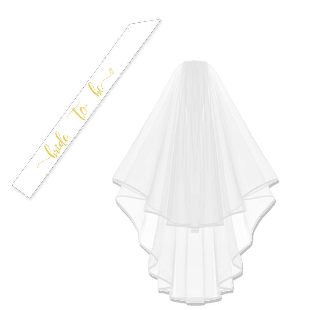 White Veil+White Sash Bachelorette White Double Ribbon Edge Center Cascade Bridal Wedding Veil with Comb/& Bride to Be Satin Sash