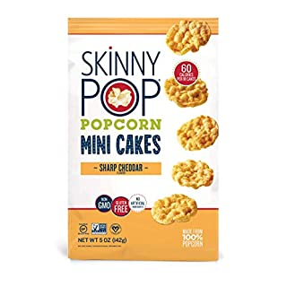 SkinnyPop Popcorn Mini Cakes, Sharp Cheddar, Healthy Snacks, 5 Ounce (Pack of 12)