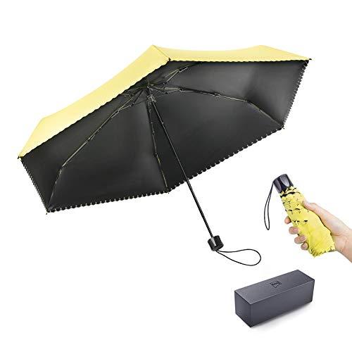 BOY Mini Folding Umbrella Lightweight Only 6.7 inches and 7.3 Ounces, Small Umbrella for Women Ladies Girls Children, Fast Dry Travel Umbrella with Gift Box, Sun UV Umbrella UPF 50, Black