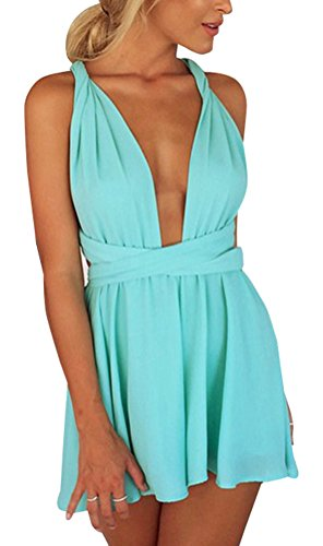 Memorose Women Different style Cross/Halter Strap Backless Short Jumpsuit Romper Blue - Women Styles Different For