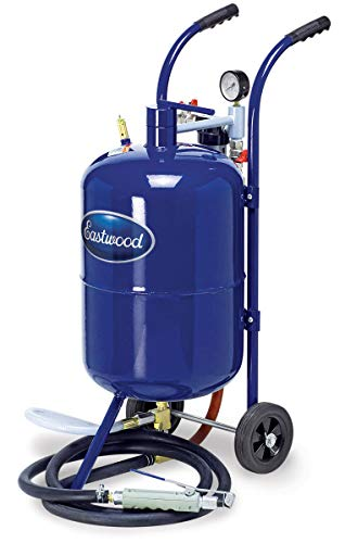 Eastwood 10 Gallon Portable Soda Blaster Air Sandblaster Sand Blaster Air Media Abrasive Blasting Tank with Large Wheels for Easy Transportation (Soda Blaster Media)