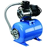 1 Horsepower Shallow Well Booster Pump with Stainless Steel Housing and Volute and 6.3 Gallon Hardened Steel Alloy...