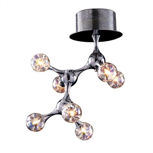 Elk 30014/7 11 by 17-Inch Molecular 7-Light Semi Flush Mount with Rainbow Glass Shade, Polished Chrome Finish