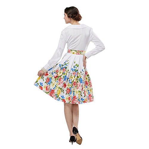 ZAFUL Mujer Vintage Vestidos Mangas Largas Cuello en V con un Cinturón Vestido de Noche A-line Tallas S-2XL