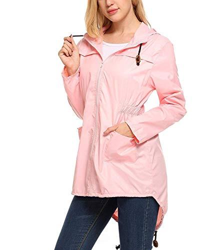 Xxl Traspirante sfaccettato Summer Giovane Cappuccio S Women Multi Autumn Waterproof Pink Jacket Winter Con Tasca Raincoat Rain E wqaIx6qB1
